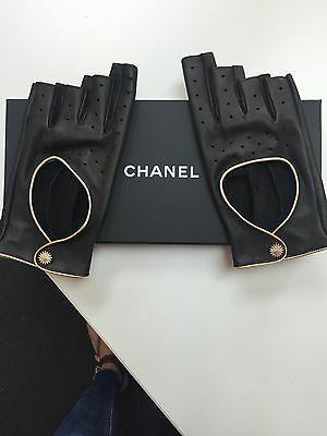 Chanel Driving Gloves Fingerless Black Leather With Gold Trim New 8/44