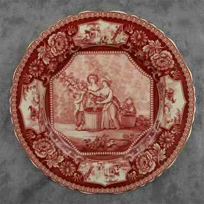 "Red & Cream Transferware Victorian Country Farm Harvest Toile Plate ~ 10"" ~"