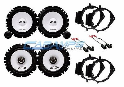 "New 6.5"" Alpine Car Truck Front & Rear Door Speakers W/ Mounting Install Kits"