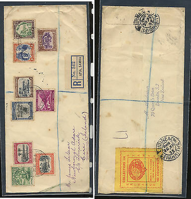 Western  Samoa  166-174 on registered cover to Ireland 1938             AT0724