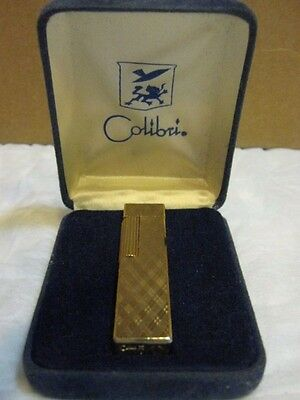 Vintage Colibri Gold Colored Long Square Lighter With Original Box