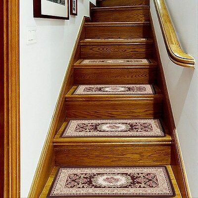Pastoral Rectangle Step Rugs Non-slip Stair Tread Mats Carpet Home Decor 1 PC