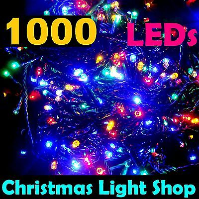 1000 MULTICOLOUR LED Flashing Christmas Fairy String Outdoor 70m Party Lights
