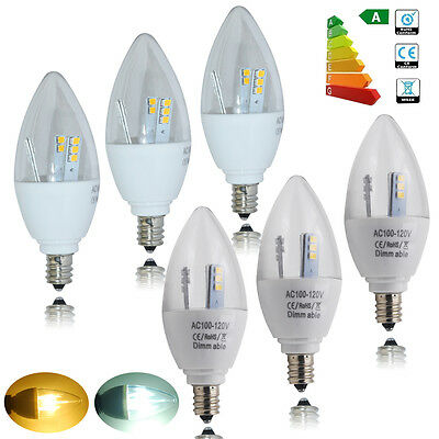5pcs 5W E12 Candelabra LED Candle Light Bulbs Dimmable Non-dimmable 3500K 6000K