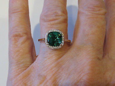 14K White Gold Chatham® Created Emerald 8MM Antique Square Diamond Halo Ring
