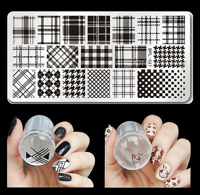 3pcs/set Born Pretty Checked Pattern Nail Art Stamping Plate Stamper Scraper Kit