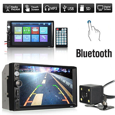 "7"" Car Stereo 2 Din In Dash MP5 Player Bluetooth Radio SD/USB FM Aux +Camera UK"