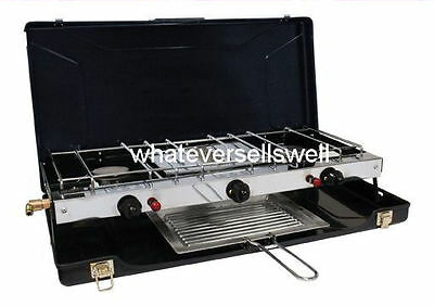 PORTABLE DOUBLE GAS COOKER WITH GRILL camping 2 burner stove electronic ignition