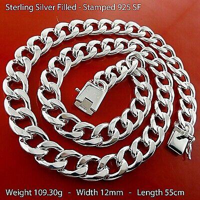 Chain Necklace Real 18k Yellow G/F Gold Mens Solid Italian Figaro Link Design