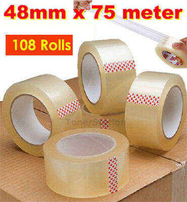 108x Packing Tape Sticky Sealing Shipping Box Carton Packaging 48mm 75m