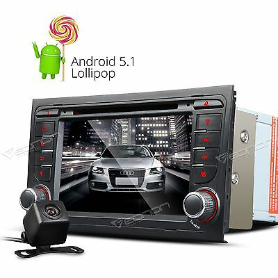 "Camera+ 7"" Android 5.1 Car DVD Player GPS FM Radio DAB+ RDS for Audi A4 S4 RS4 E"
