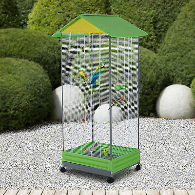 Large Parrot Cage Bird Stand Parakeet Cockatiel Aviary Metal Play House w/Wheel