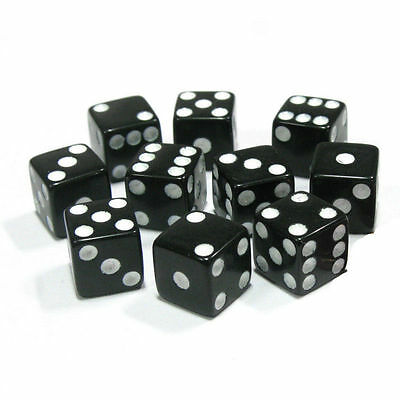 10pcs/set Six Sided Square Opaque 14mm D6 Dice - Black with White Pip Die