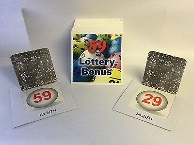 5 Sets 1 - 59 Lottery Bonus Ball Cards Tickets Modern Design Serially Numbered