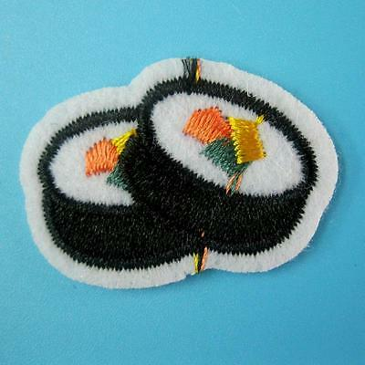 Cute Sushi Japanese Food Embroidered Iron Sew on Patch Biker Applique Motif Lots