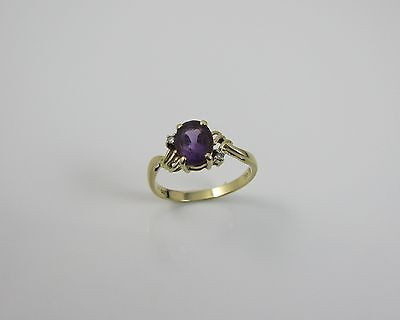 14K Yellow Gold 585 Solitaire Amethyst & Diamond Ring - Size 'N'