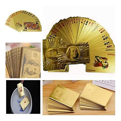 Poker Feuille D'or Poker 54 Cartes à Jouer Jeux Avec Plastique Box Playing Card