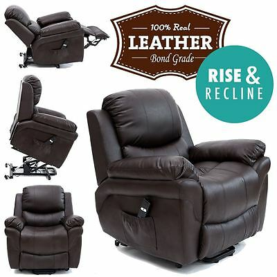 Madison Brown Elecrtic Rise Recliner Real Leather Armchair Sofa Lounge Chair