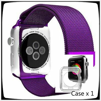 Purple Stainless Mesh Metal Band Strap For Apple Watch 42mm Milanese