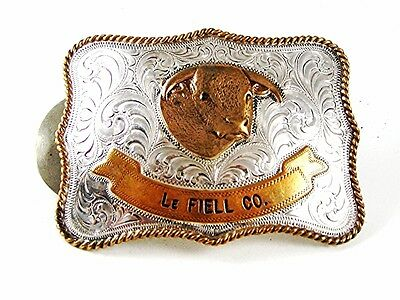 Vintage Sterling on Nickle & Gold tone LeFiell Company Bull Belt Buckle 92016