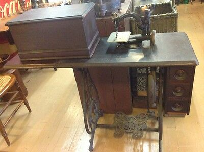 1883 Willcox & Gibbs Treadle Sewing Machine w/Attachments & Wood Cabinet