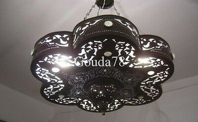 Handcrafted Moroccan Black Oxidized Brass Jeweled Chandelier Lamp Light