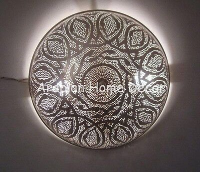 Moroccan Silver Plated Brass Wall Lamp Flush Mount Ceiling Light Fixture