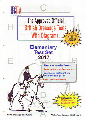 2017 ELEMENTARY TEST SET: Laminated British Dressage Tests With Diagrams