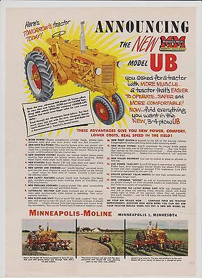 1953 Minneapolis-Moline Announces New MODEL UB Tractor Ad  ~ Not Perfect Cond.