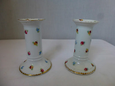 Pair Antique c1920,ROYAL BAYREUTH,Floral Candlesticks