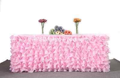"Handmade Deluxe Tulle Table Skirt For Party Events Wedding 9FTx29"" Ship From USA"
