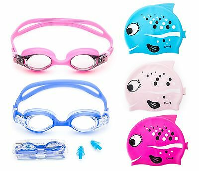 Kids Swimming Goggles Adjustable Anti Fog + Silicone Swim Cap Cute Fish Flexible