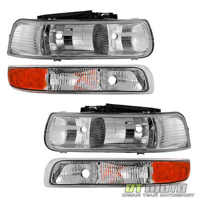4PC 1999-2002 Chevy Silverado 1500 00-06 Suburban Tahoe Headlights Bumper Lamps