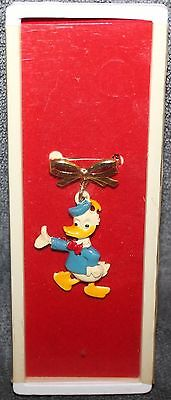 Nice Rare Vintage Disney Donald Duck On Bow Hinged Pin Back 2 1/4""