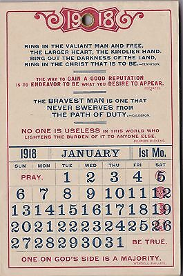 1918 Inspirational Monthly Wall Calendar W/Dickens/Socrates/Ben Franklin Quotes
