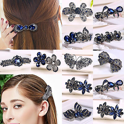 Vintage Hair Barrette Crystal Rhinestone Bow Butterfly Flower Hair Clips Hairpin