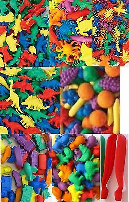 Transport Farm Sealife Fruit Aussie Animals Insects Dinosaurs Counters + Tweezer