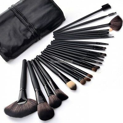 Professional 24Pcs Wood Makeup Brush Kit Cosmetic Make Up Set with Pouch Bag ED