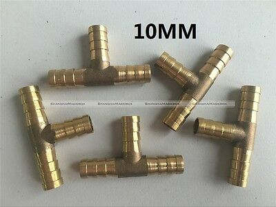 """5Pcs 10mm 3/8"""" Tee 3 Way Hose Barbed Connector Air Fuel Water Pipe Gas Tubing S3"""