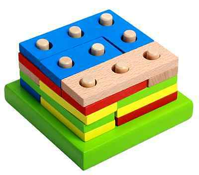 Wooden Geometry learning Block Puzzle Montessori Early Learning Educational Toy