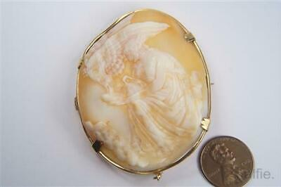 ANTIQUE VICTORIAN ERA GOLD 9K CARVED SHELL HEBE & ZEUS EAGLE CAMEO BROOCH c1860