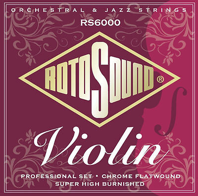 Rotosound RS6000 Professional Violin Strings Chrome Flatwound Full Size 4/4