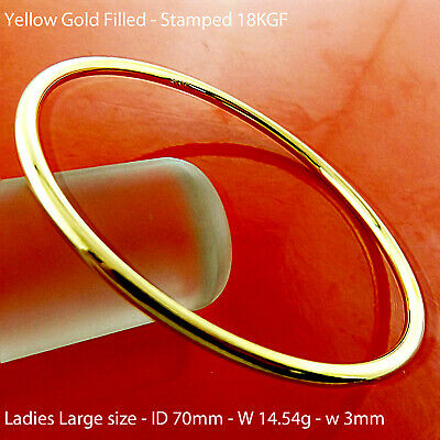 A655 Genuine Real 18K Yellow G/f Gold Leopard Head Tiger Cuff Bangle Bracelet