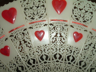 Antique Ivory-Colored Celluloid W Red Hearts Hand Fan