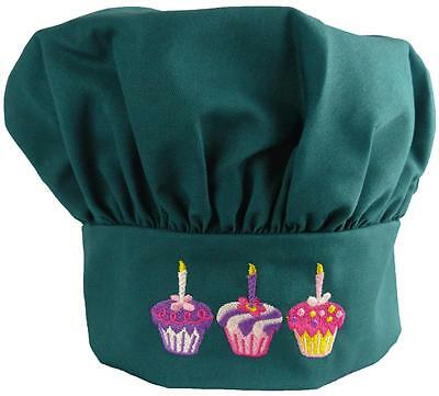 Sweet Cupcakes & Candles Teal Green Chef Hat Velcro Adjustable Bakery Monogram