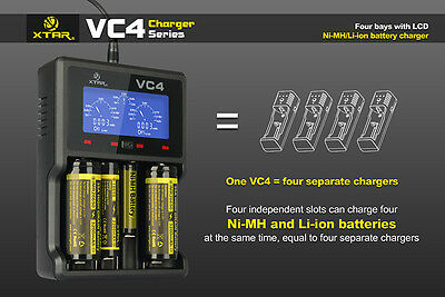 New XTAR VC4 LCD Screen USB Charger 18650 26650 32650 14500 AA AAA Battery TS