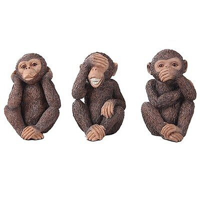 Three Wise Monkey See Hear Speak No Evil Animal Lover Figurine Statue Collection