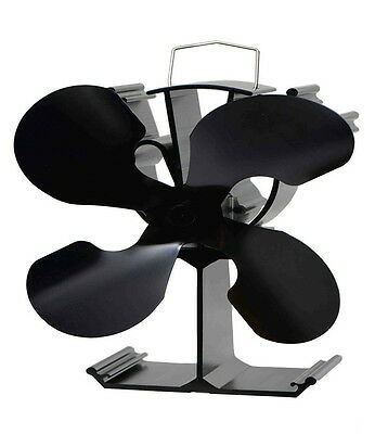 Heat powered eco wood stove fan 4 Black blades with temperature regulation voda