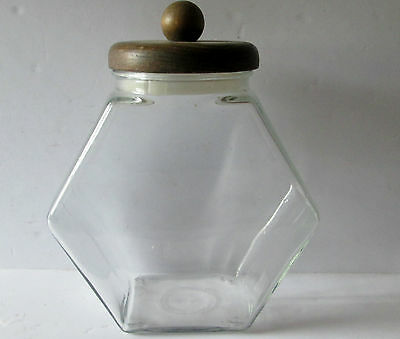 Vintage Hexagon Depression Clear Glass Jar Wood Lid Cookie/candy/store Jar