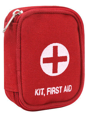 First Aid Pouch Red Canvas Military Zippered First Aid Pouch - Pouch Only 8378